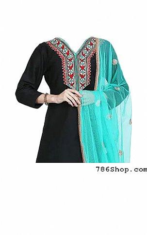 Black/Turquoise Georgette Suit | Pakistani Dresses in USA