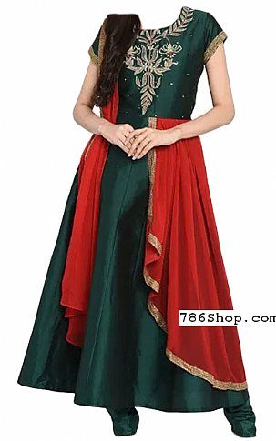 Bottle Green Georgette Suit | Pakistani Dresses in USA
