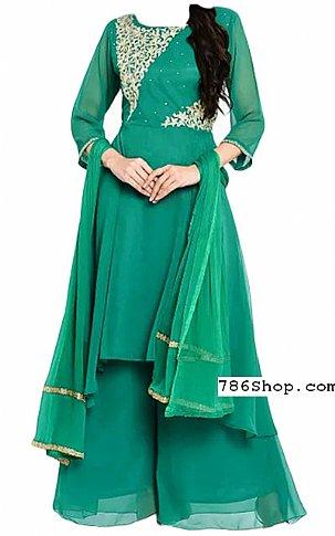 Teal Green Chiffon Suit | Pakistani Dresses in USA