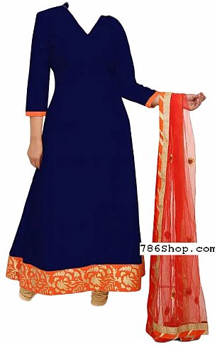 Navy Blue Chiffon Suit | Pakistani Dresses in USA