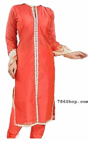 Coral Chiffon Suit | Pakistani Dresses in USA