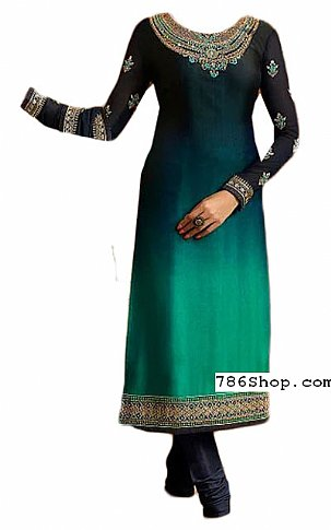 Teal Chiffon Suit | Pakistani Dresses in USA