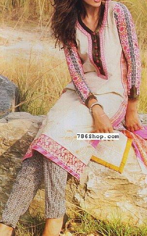 Off-White/Pink Lawn Suit | Pakistani Lawn Suits