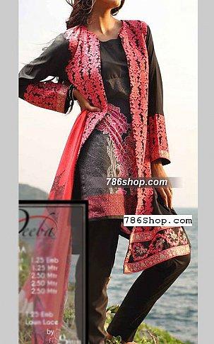 Peach/Black Cotton Lawn Suit | Pakistani Lawn Suits