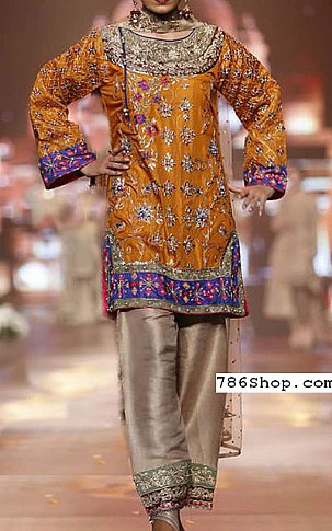 Rust/Beige Raw Silk Suit | Pakistani Party and Designer Dresses in USA