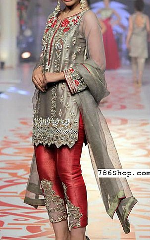 Grey Net Suit | Pakistani Party and Designer Dresses in USA