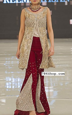 Golden/Maroon Chiffon Suit | Pakistani Party and Designer Dresses in USA