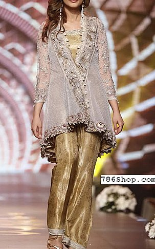 Grey/Golden Net Suit | Pakistani Party and Designer Dresses in USA
