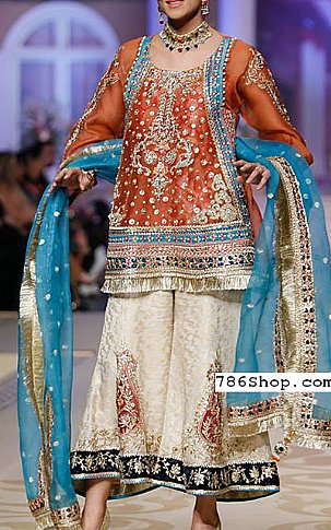 Rust/Off-white Chiffon Suit | Pakistani Party and Designer Dresses in USA