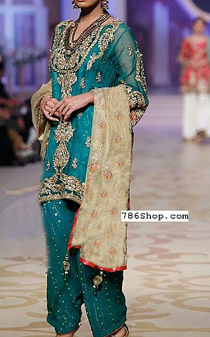 Teal Chiffon Suit | Pakistani Party and Designer Dresses in USA