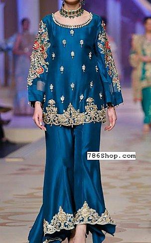 Blue Silk Suit   Pakistani Party and Designer Dresses