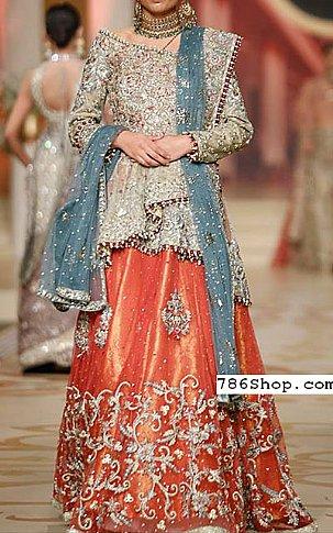 Light Golden/Orange Chiffon Suit   Pakistani Wedding Dresses in USA