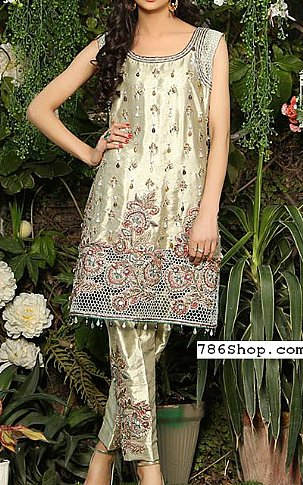 Light Golden Silk Suit | Pakistani Party and Designer Dresses in USA