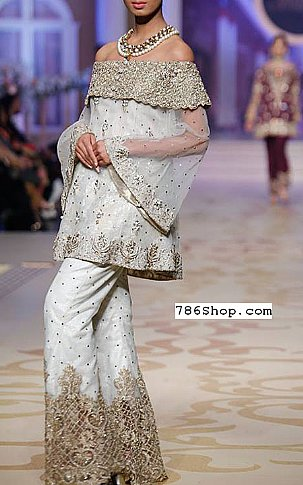 Off-white Chiffon Suit | Pakistani Party and Designer Dresses