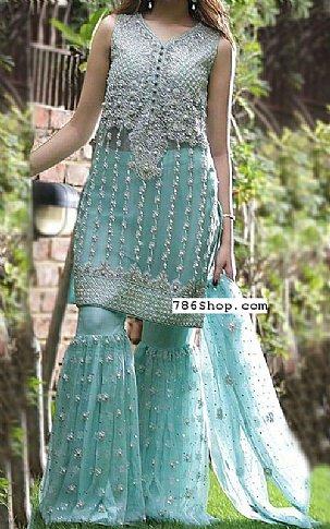 Light Turquoise Chiffon Suit | Pakistani Wedding Dresses in USA