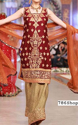 Maroon/Beige Chiffon Suit | Pakistani Party and Designer Dresses in USA