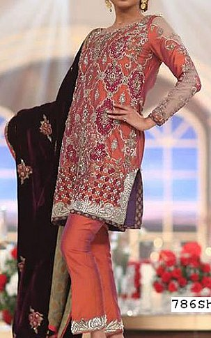 Rust Silk Suit | Pakistani Party and Designer Dresses in USA
