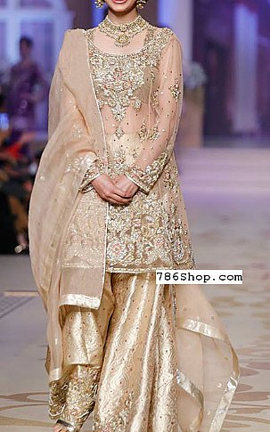 Light Golden Chiffon Suit   Pakistani Party and Designer Dresses in USA