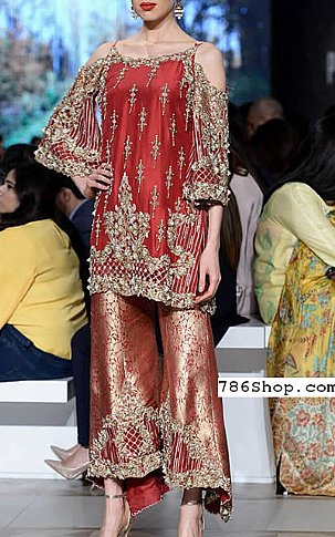 Red Silk Suit   Pakistani Party and Designer Dresses in USA