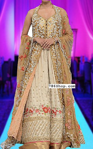 Ivory/Golden Silk Suit | Pakistani Party and Designer Dresses in USA
