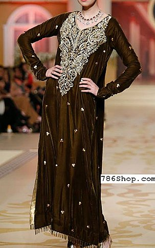 Dark Brown Silk Suit | Pakistani Party and Designer Dresses in USA