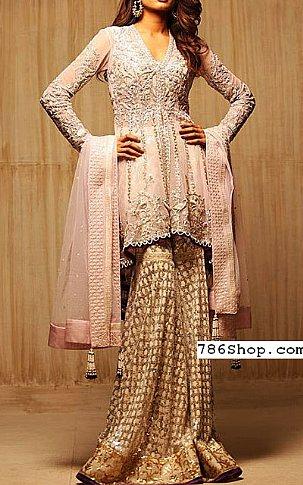 Pink/Golden Chiffon Suit. | Pakistani Wedding Dresses