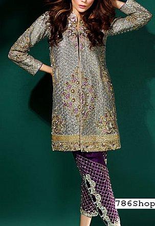 Grey/Indigo Silk Suit | Pakistani Party and Designer Dresses in USA