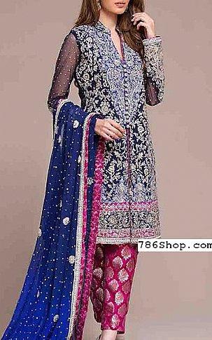 Blue/Magenta Chiffon Suit | Pakistani Party and Designer Dresses