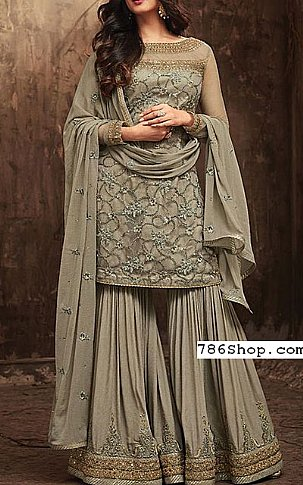 Light Olive Chiffon Suit | Pakistani Wedding Dresses in USA