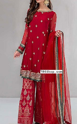 Red Chiffon Suit | Pakistani Party and Designer Dresses in USA