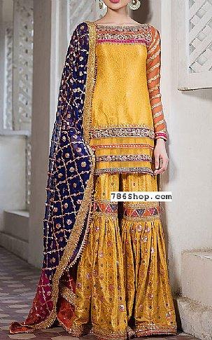 Yellow Jamawar Suit | Pakistani Wedding Dresses in USA