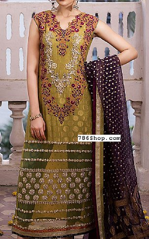 Olive Chiffon Jamawar Suit | Pakistani Party and Designer Dresses in USA
