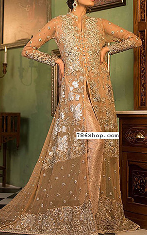 Peach Crinkle Chiffon Suit. | Pakistani Party and Designer Dresses