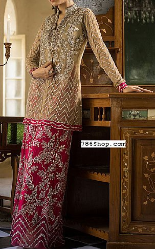 Beige/Hot Pink Crinkle Chiffon Suit | Pakistani Party and Designer Dresses in USA