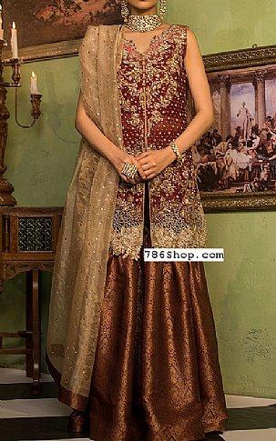 Maroon Crinkle Chiffon Suit | Pakistani Wedding Dresses in USA