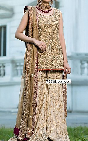 Fawn Crinkle Chiffon Suit | Pakistani Wedding Dresses in USA