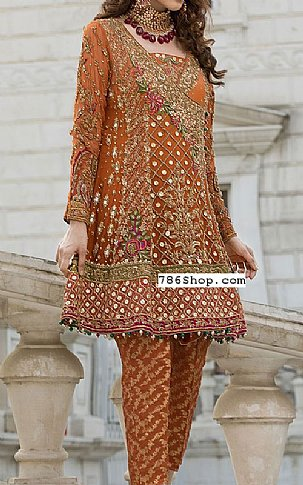 Rust Crinkle Chiffon Suit | Pakistani Party and Designer Dresses in USA