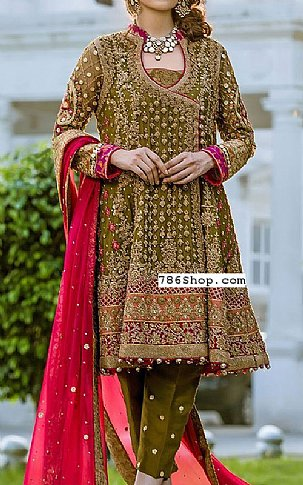 Olive Green Crinkle Chiffon Suit | Pakistani Party and Designer Dresses in USA