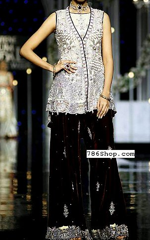 Silver/Brown Chiffon Suit | Pakistani Party and Designer Dresses in USA