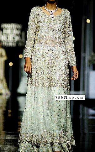 Light Sea Green Chiffon Suit | Pakistani Party and Designer Dresses in USA