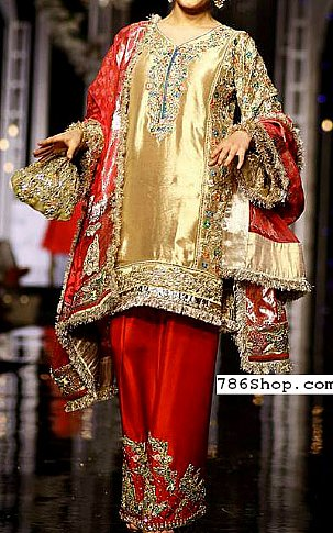 Golden/Red Raw Silk Suit | Pakistani Party and Designer Dresses in USA