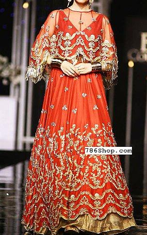 Safety Orange Crinkle Chiffon Suit | Pakistani Wedding Dresses