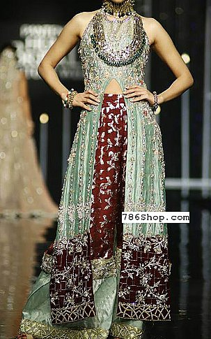 Sea Green/Chocolate Silk Suit | Pakistani Party and Designer Dresses in USA