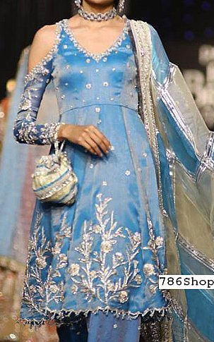 Turquoise Silk Suit | Pakistani Party and Designer Dresses in USA