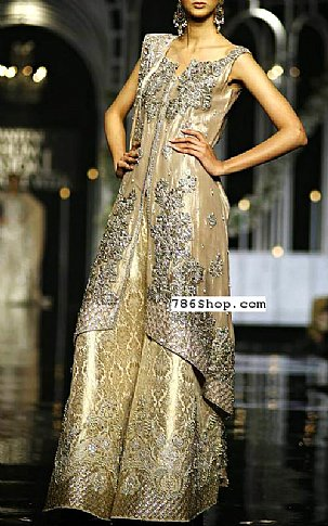 Fawn/Gold Crinkle Chiffon Suit | Pakistani Party and Designer Dresses in USA