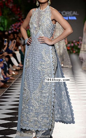 Baby Blue Crinkle Chiffon Suit | Pakistani Party and Designer Dresses in USA