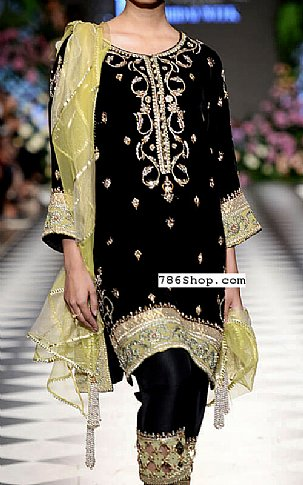 Black Velvet Suit | Pakistani Party and Designer Dresses in USA