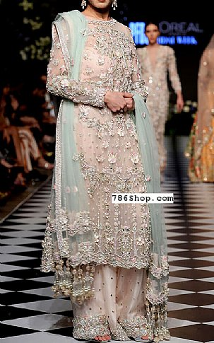 Light Peach Chiffon Suit | Pakistani Party and Designer Dresses in USA