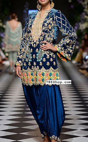 Navy Blue Velvet Suit | Pakistani Party and Designer Dresses in USA