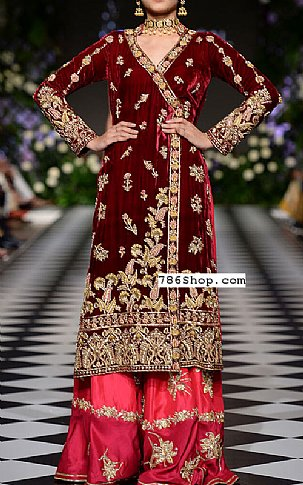 Maroon Velvet Suit | Pakistani Party and Designer Dresses in USA